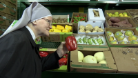 Queens Nun Collects Veggies for Seniors